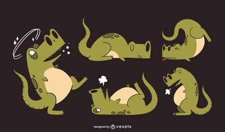 Funny dinosaur character set