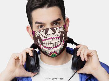 Design de máscara facial de boca em crânio