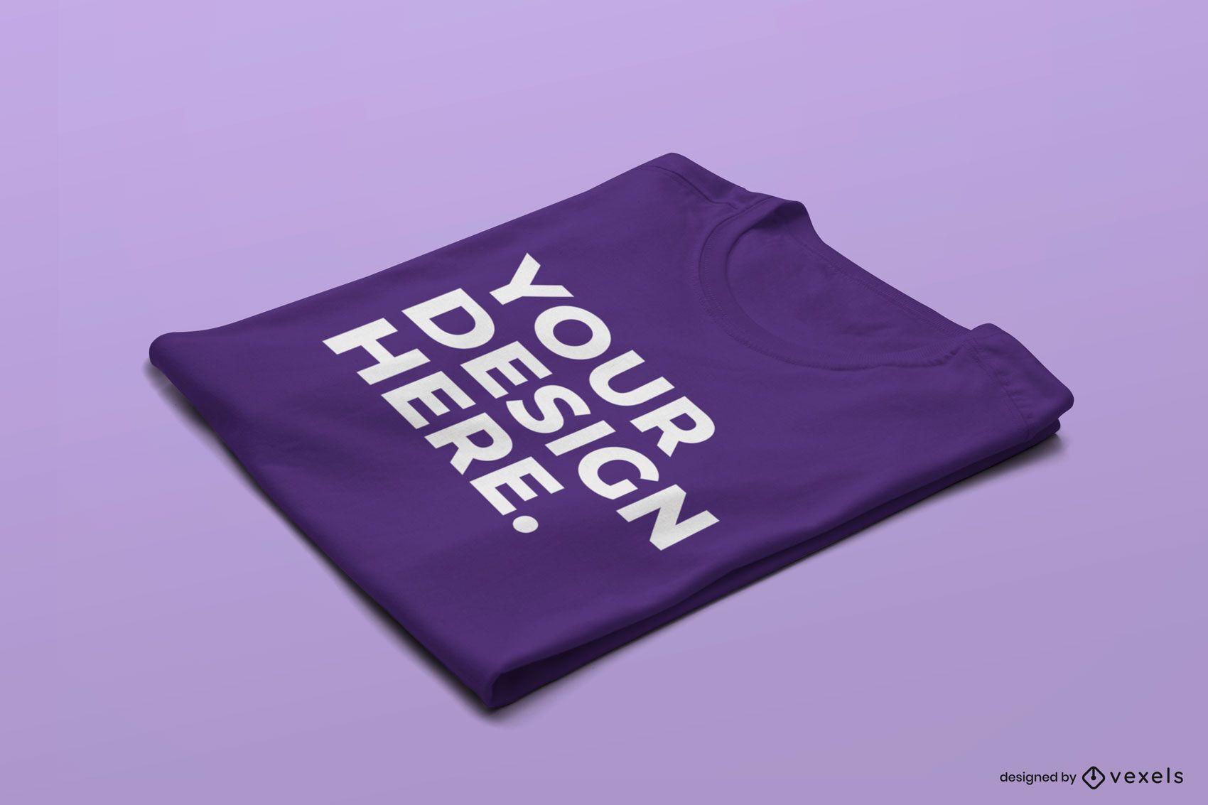 Design de maquete dobrada de camiseta