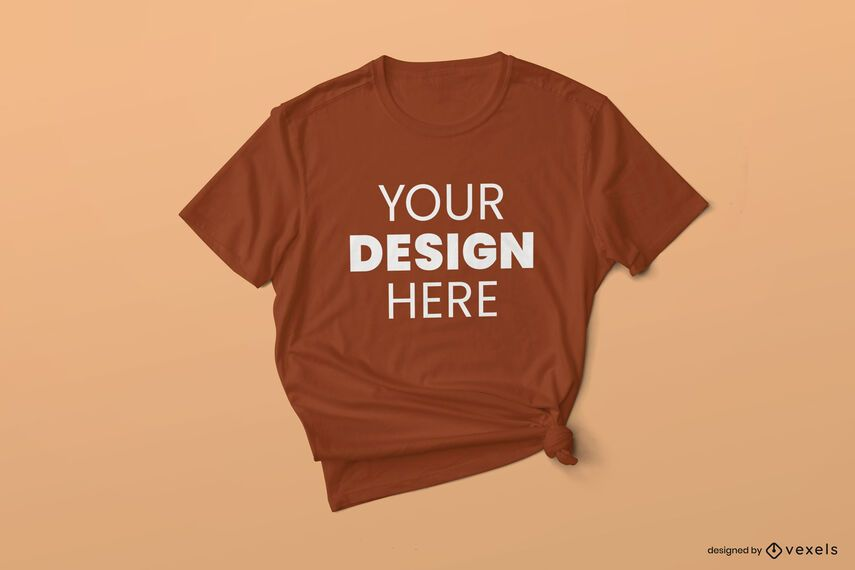 Design de maquete de camiseta amarrada