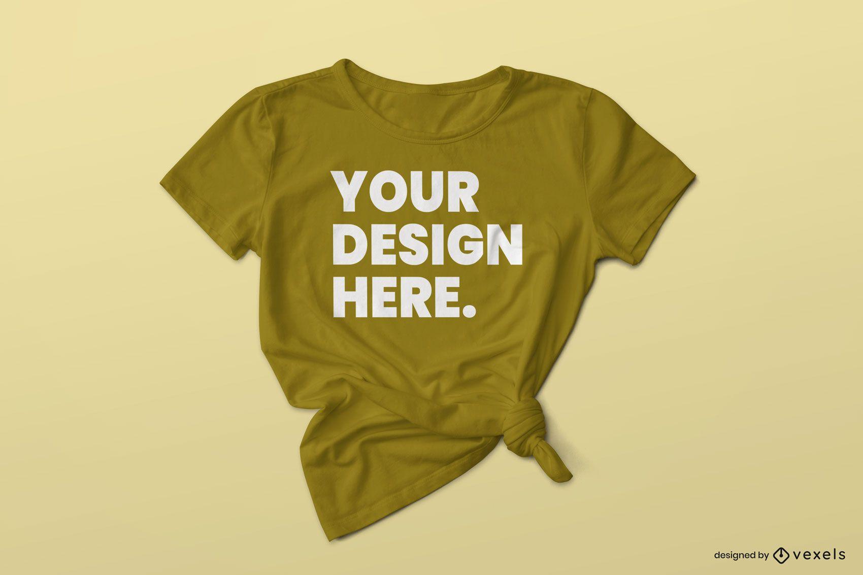Camiseta con diseño de mock up de nudo