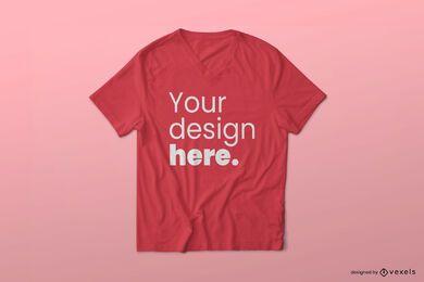 Diseño de maqueta de camiseta con cuello en V