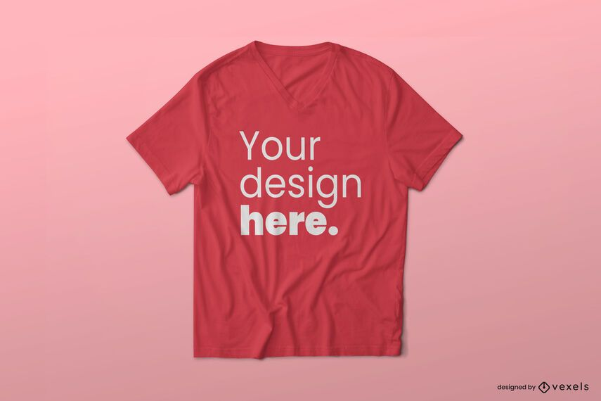 V neck t-shirt mockup design