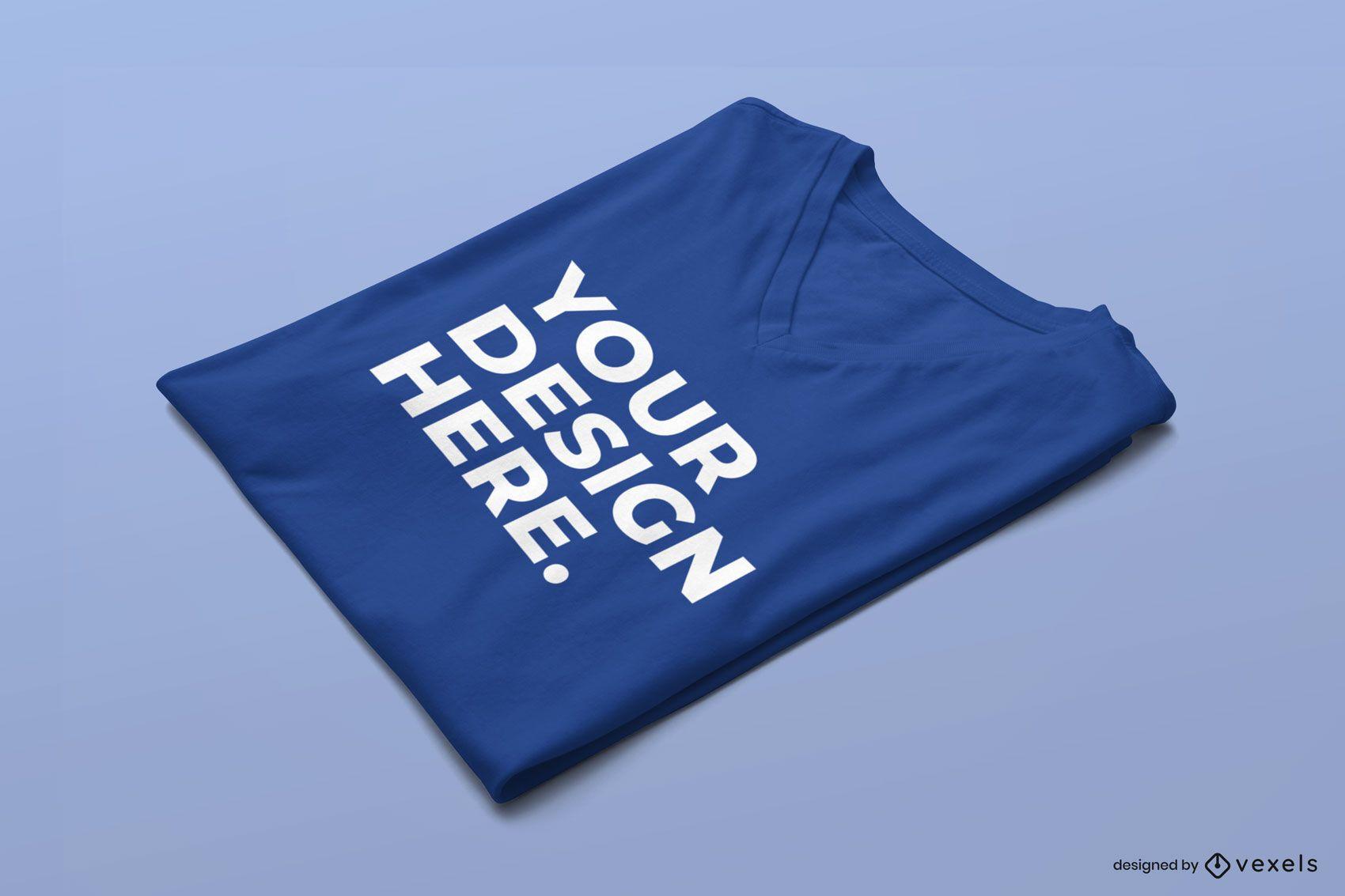 Gefaltetes T-Shirt-Modell mit V-Ausschnitt