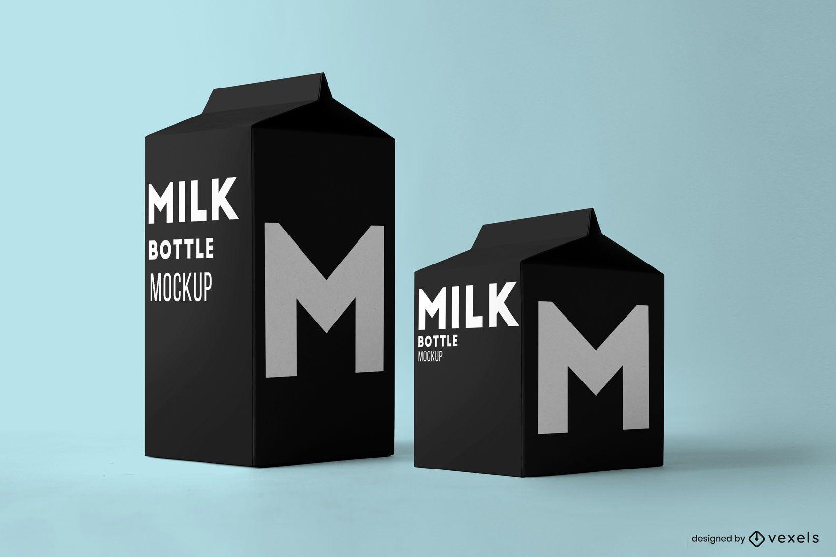 Milk cartons mockup design
