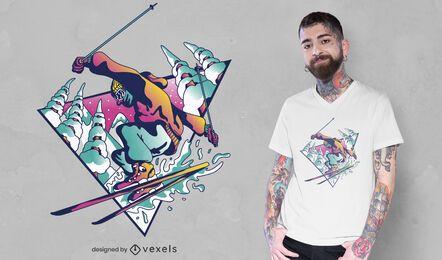 Diseño de camiseta de chico de esquí