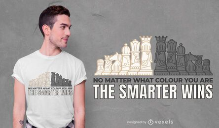Diseño de camiseta inteligente de ajedrez.