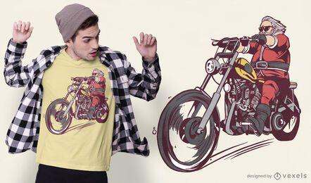Design de t-shirt do papai noel do motociclista