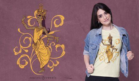 Diseño de camiseta de bailarina apsara