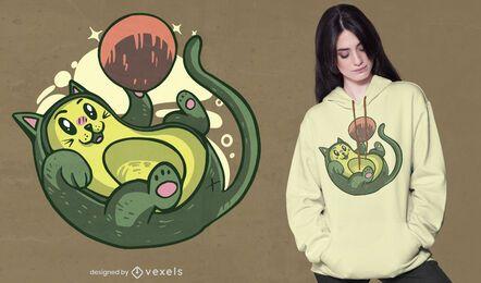 Design de camiseta abacate kitty