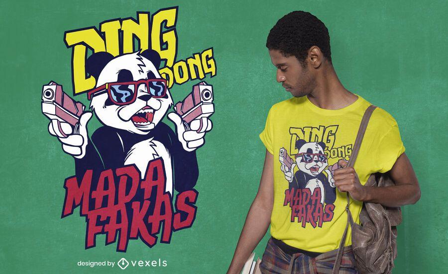 Design de camiseta com armas panda