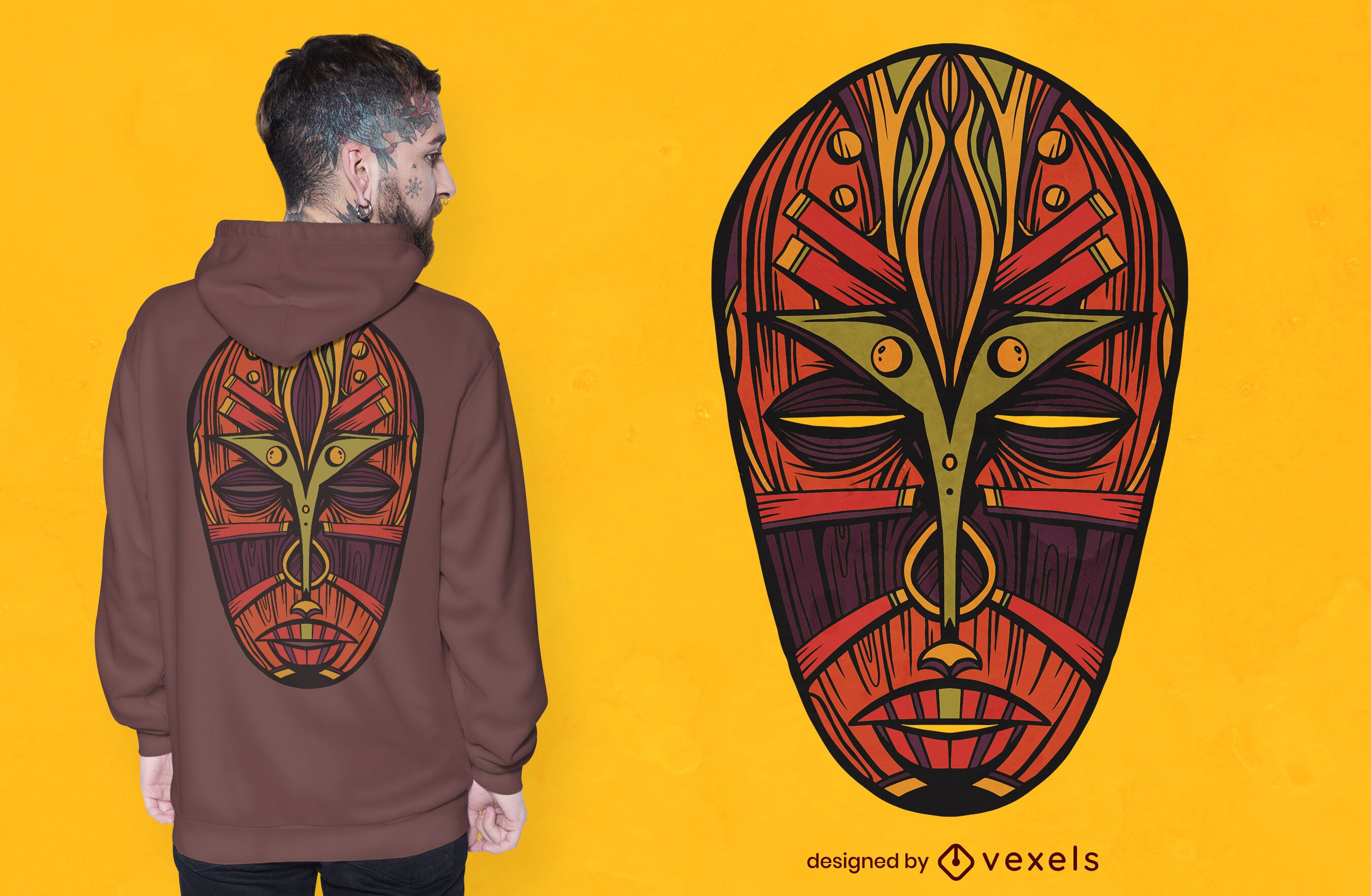 Diseño de camiseta de máscara africana.