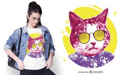 Design de t-shirt com óculos de sol para gatos