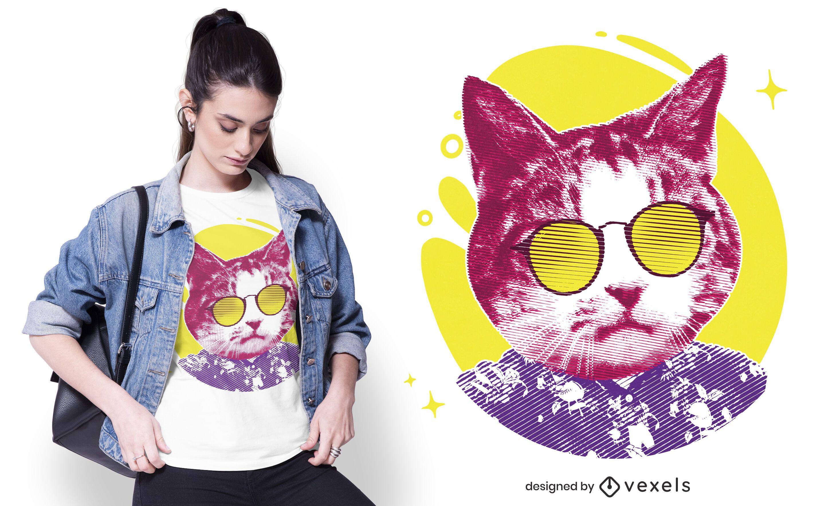Cool cat sunglasses t-shirt design