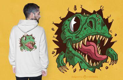 Diseño de camiseta rasgando T Rex