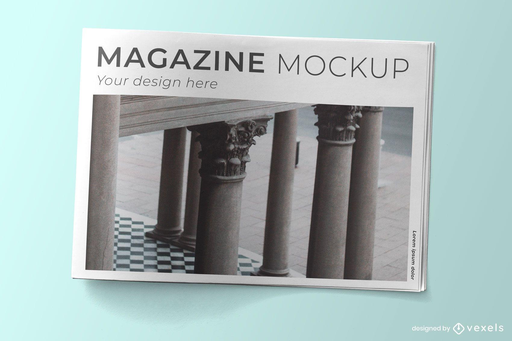 Design de maquete psd para capa de revista
