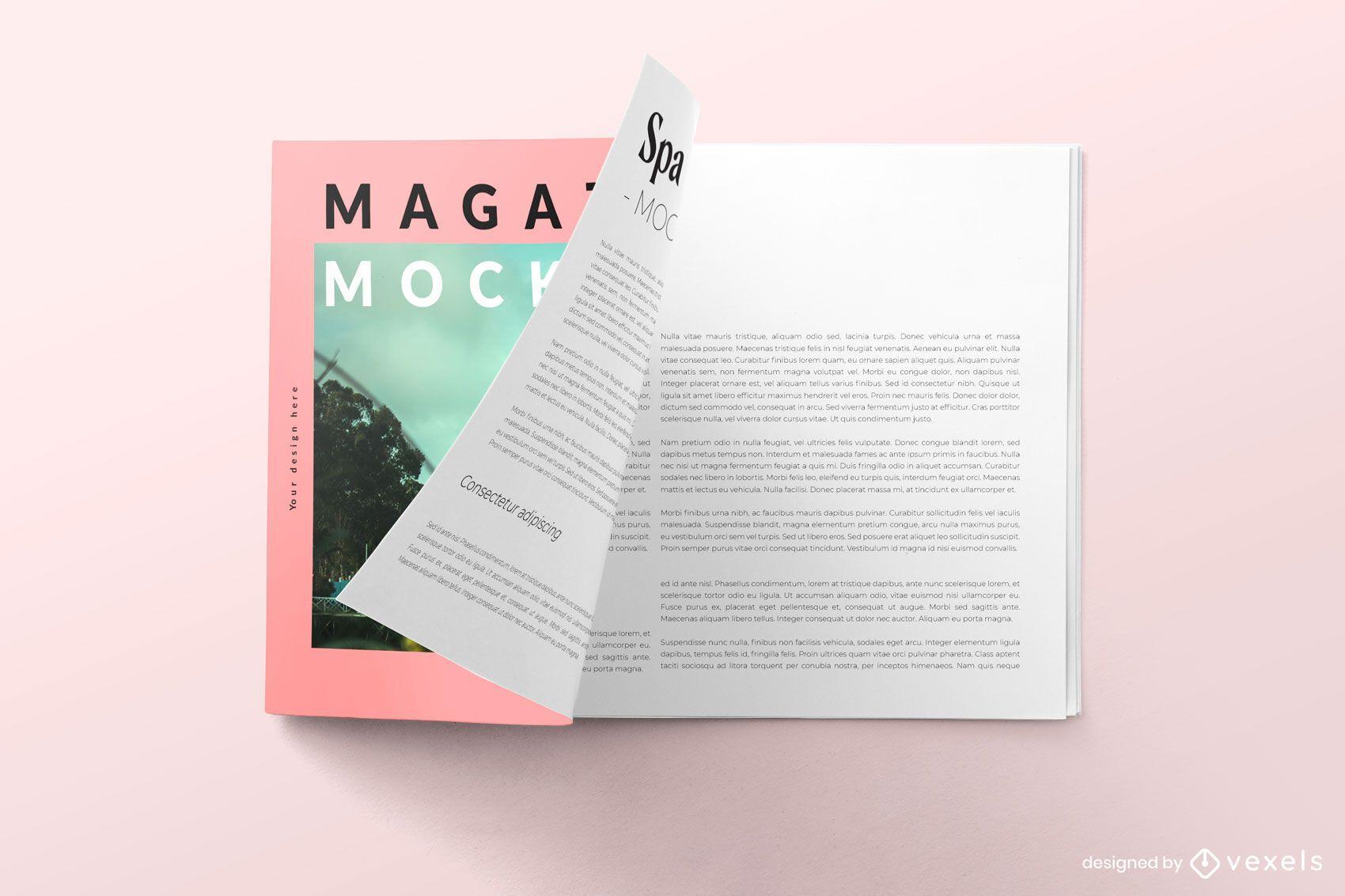 Design de maquete psd de revista aberta