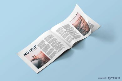 Open horizontal magazine mockup
