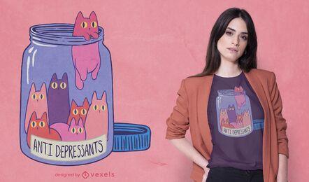 Diseño de camiseta de antidepresivos de gato.