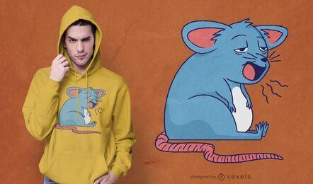 Diseño de camiseta de ratón soñoliento