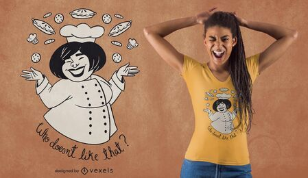 Diseño de camiseta de panadero feliz