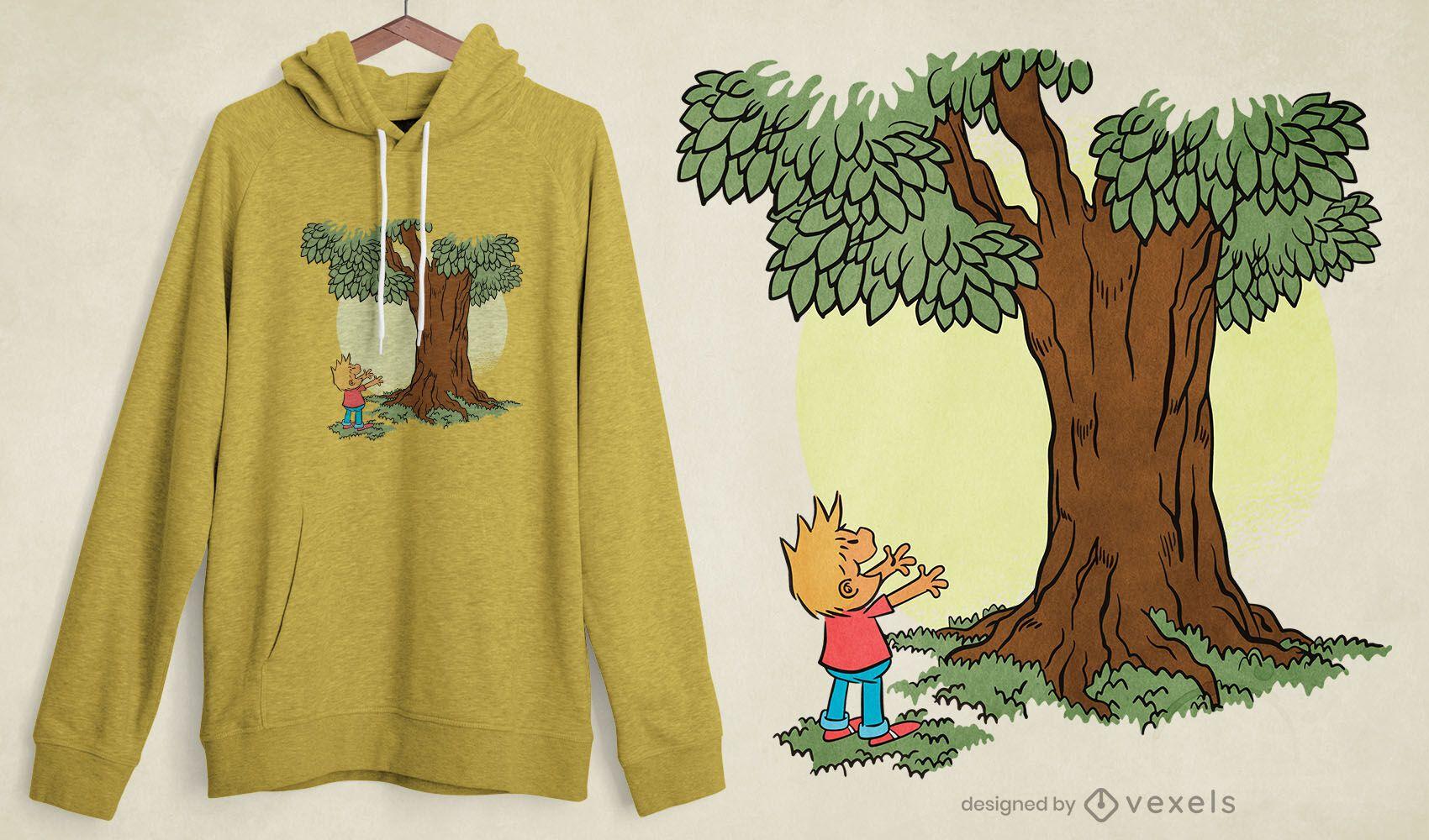 Diseño de camiseta de niño árbol