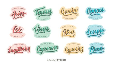 Astrological signs lettering set