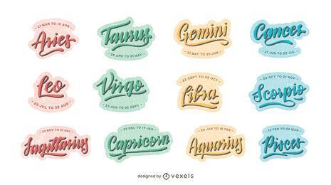 Astrologische Zeichen Schriftzug gesetzt