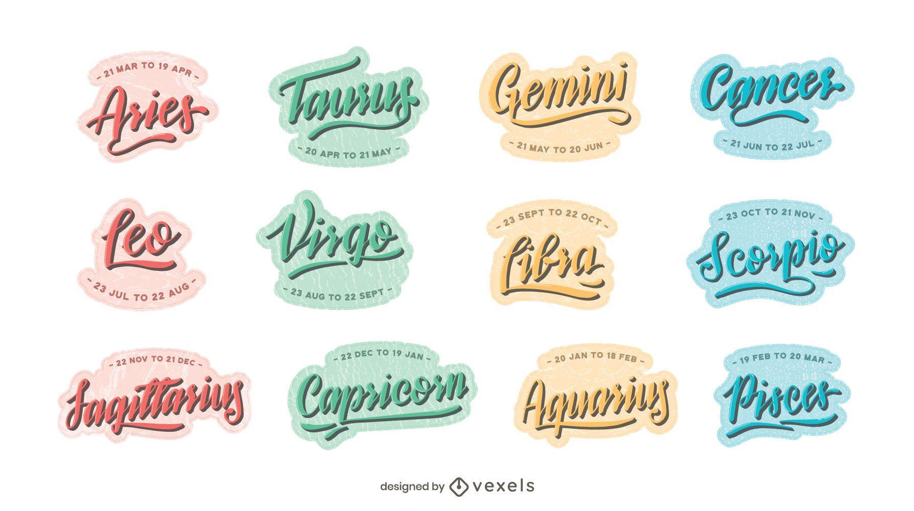 Astrological signs lettering set
