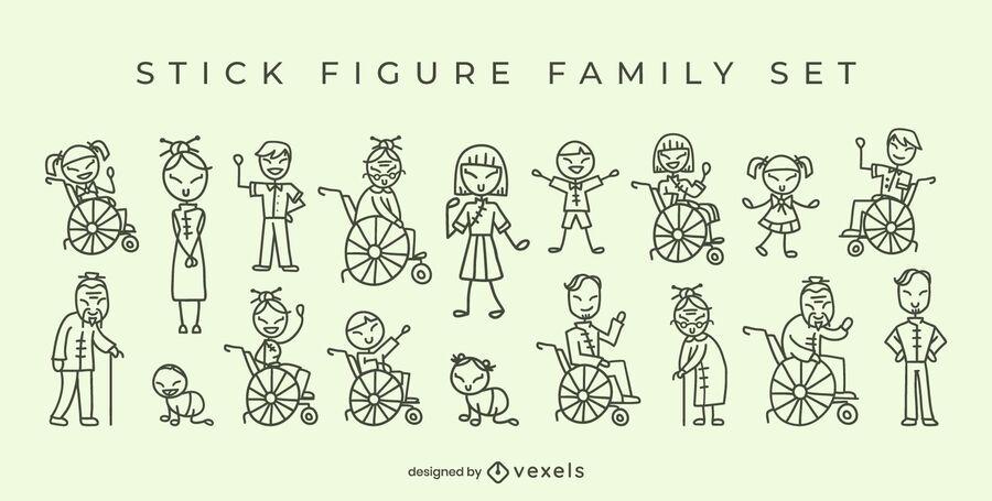 Figuras de palo de la familia china
