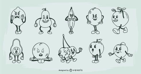 Conjunto de dibujos animados retro de frutas