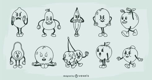 Fruit retro cartoon set