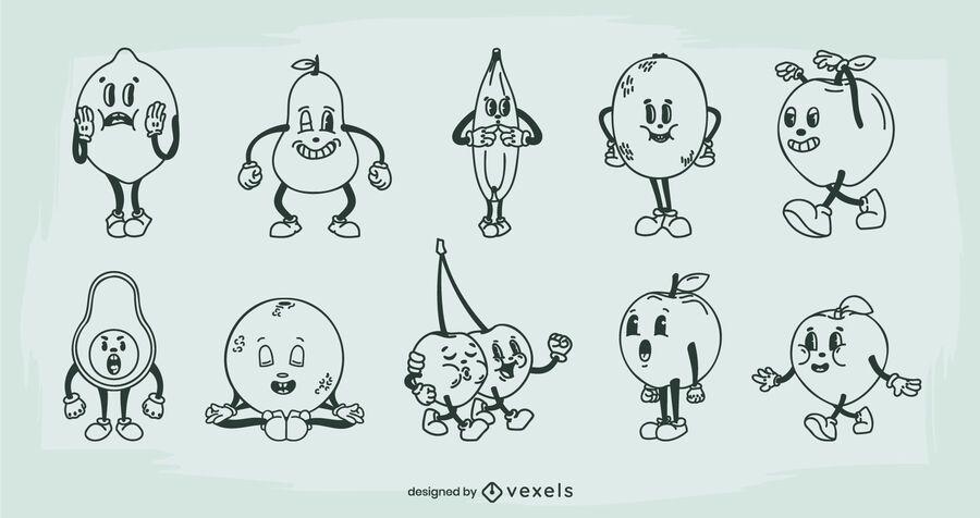 Fruit retro cartoon set