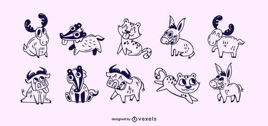 Conjunto de trazos de animales lindos