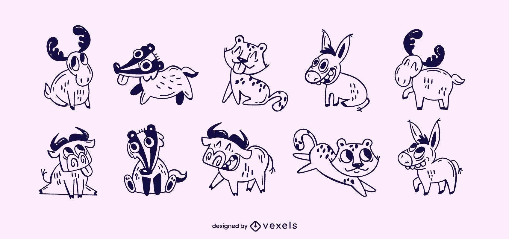 Cute animals stroke set
