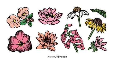 Flower hand drawn set