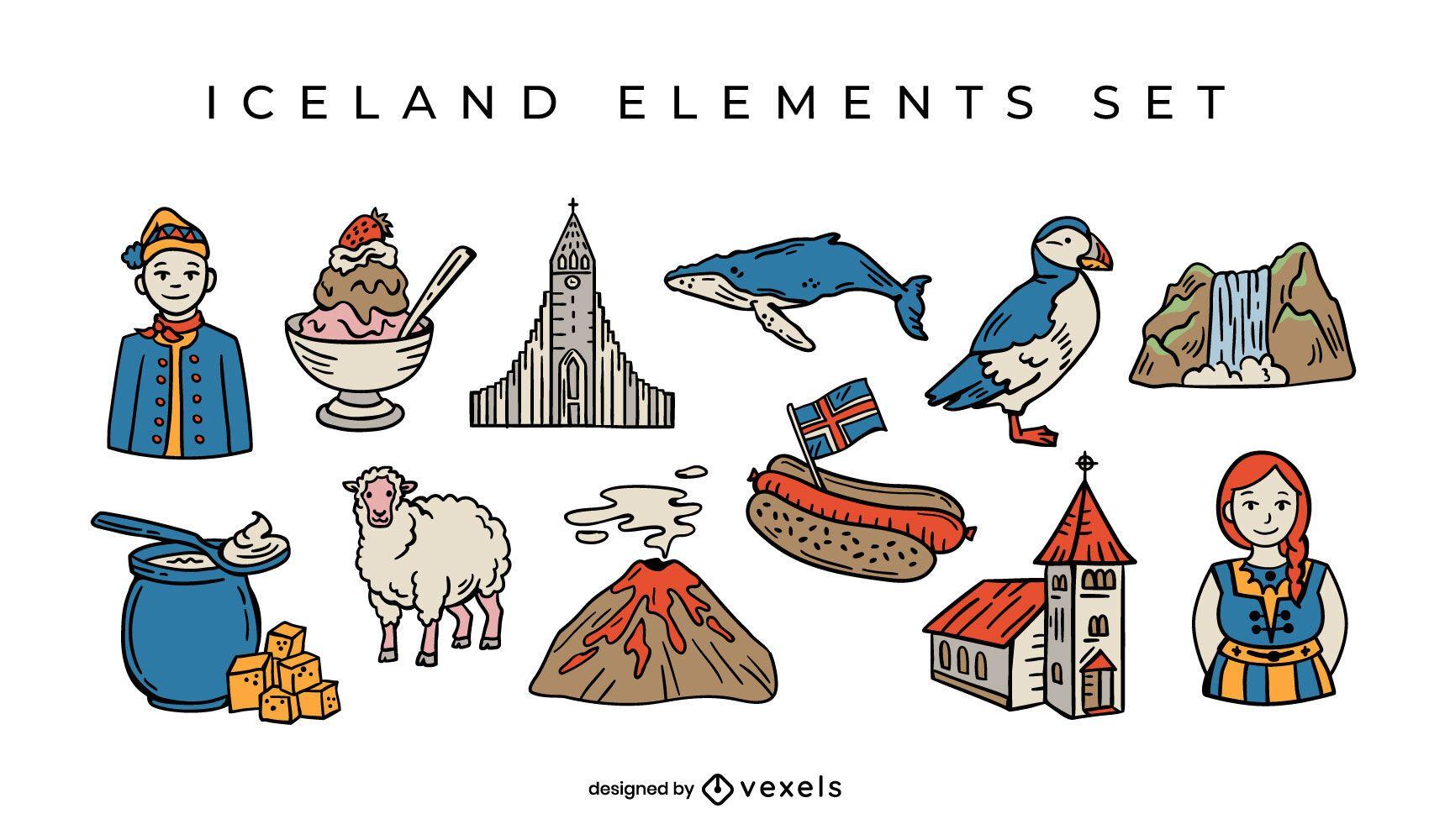 Iceland elements set