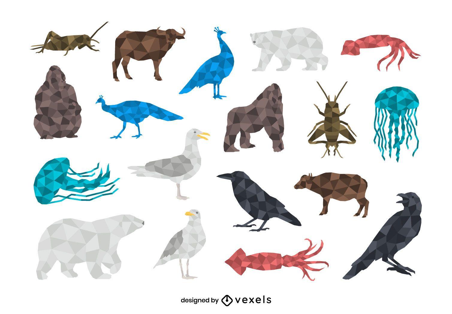 Conjunto de animales low poly