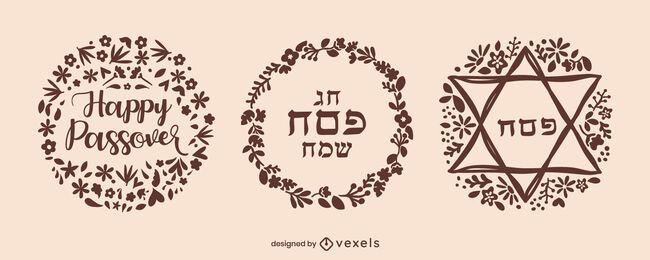Pesach Hebrew badge set