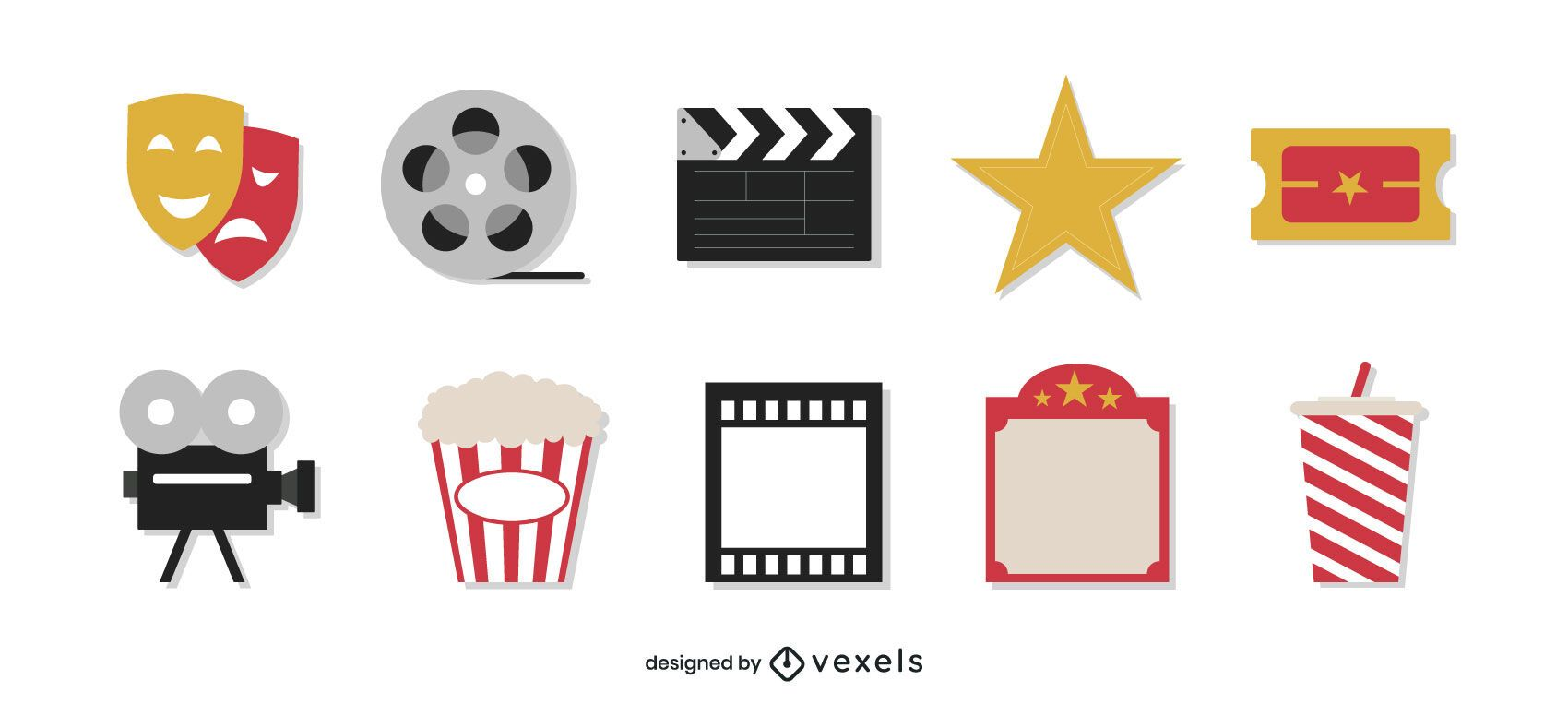Conjunto plano de elementos de filme