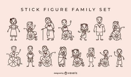 Figuras de palo de la familia de los nativos isleños
