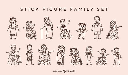 Native Islanders family stick figures
