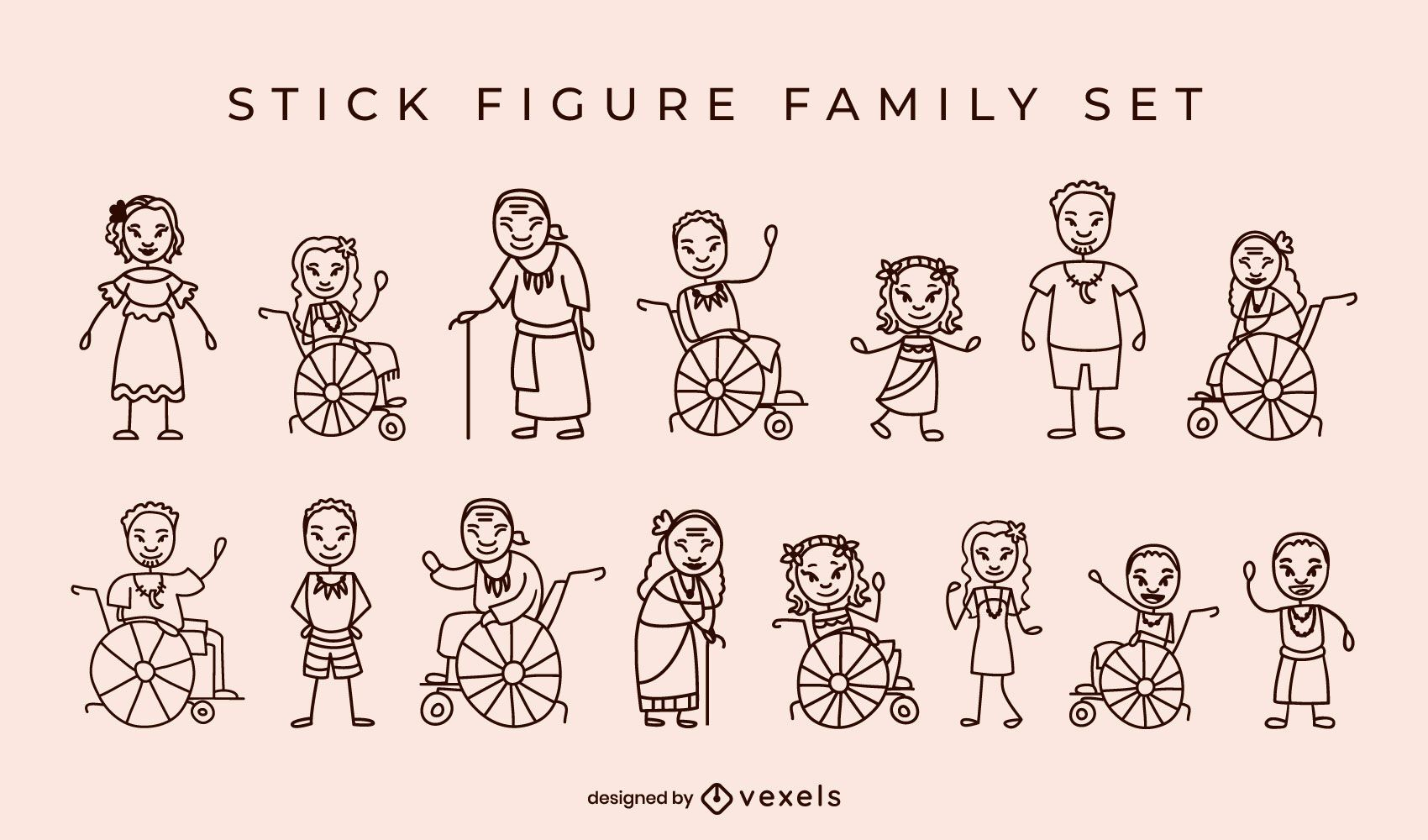 Native Islanders family stick figures