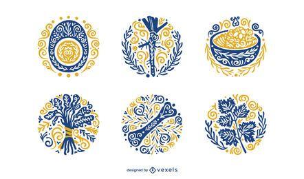 Conjunto de elementos ornamentales de pascua