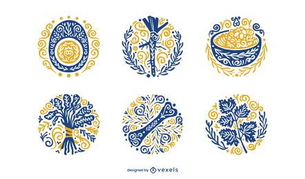 Passover ornamental element set