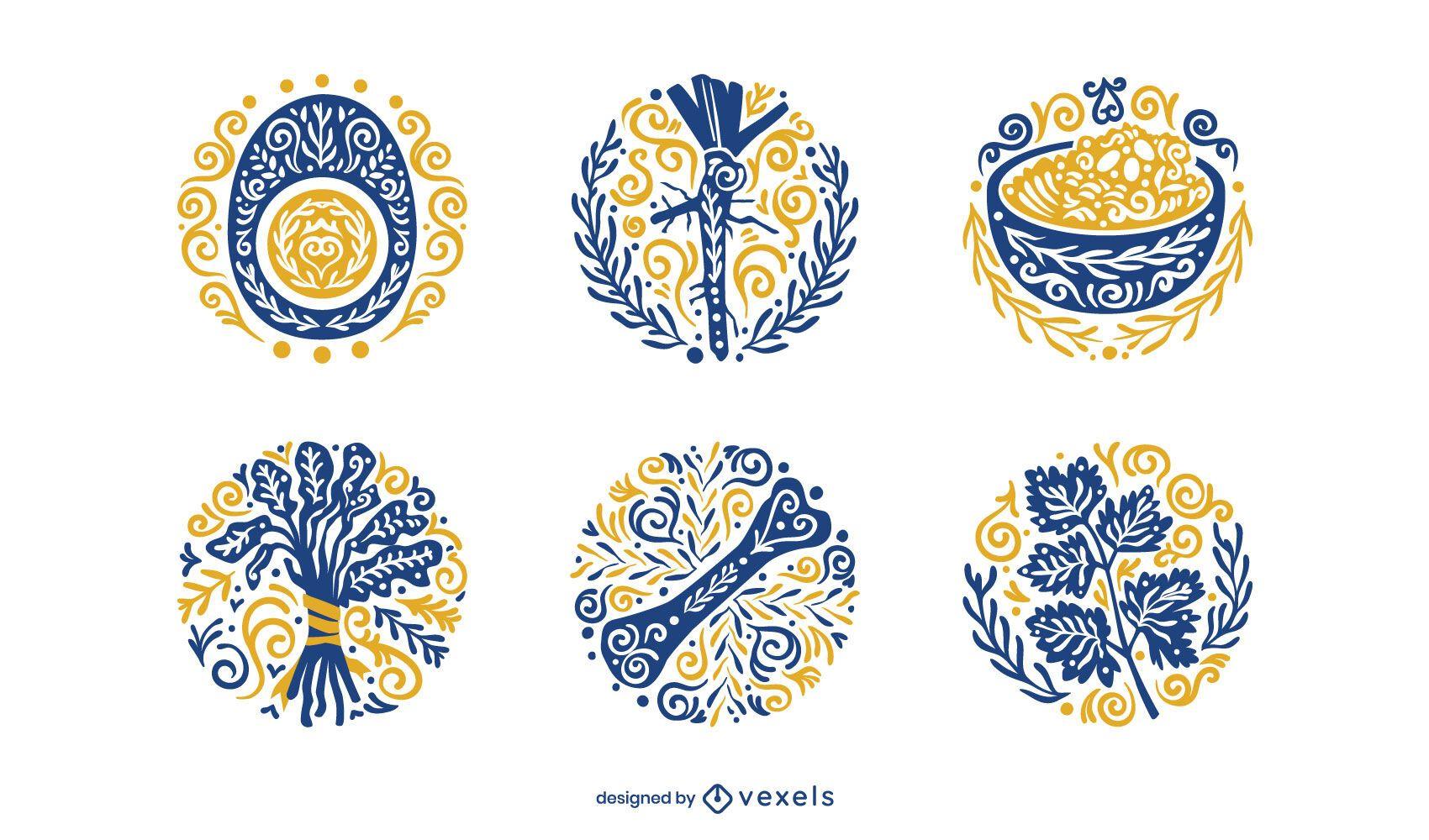 Passover ornamental element set