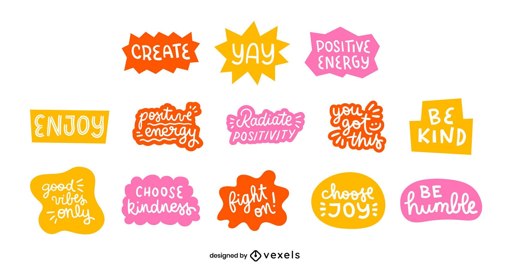 Positive quotes lettering set