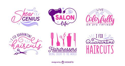 Hair salon lettering set