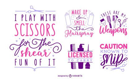 Hair stylist lettering set