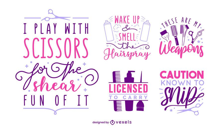 Hair stylist lettering set